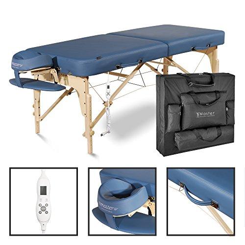 Master Massage Phoenix 71cm Mobil tragbar Massageliege /-bett /-bank Kosmetikliege Heizdecke Wärmeunterbett America Brand Holzfuß und Tragetasche, Körper warm, Warming Pads (EU Plug) Königsblau