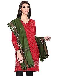 Weavers Villa womens Woolen Blends Green Shawls_Large_WV--843-MEHANDI