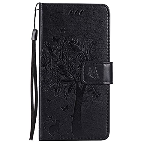 Nokia Lumia 640 Case Leather [Black], Cozy Hut [Wallet Case] Premium Soft PU Leather Notebook Wallet Embossed Flower Tree Design Case with [Kickstand] Stand Function Card Holder and ID Slot Slim Flip Protective Skin Cover for Microsoft Lumia 640 / N640 5,0 inch - Black