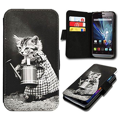 Book Style Wiko Fizz Premium PU-Leder Tasche Flip Brieftasche Handy Hülle mit Kartenfächer für Wiko Fizz - Design Flip SB775