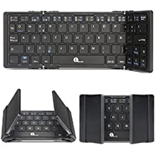 1byone Teclado Inalámbrico Bluetooth Tri-plegable Ultra-delgado,Mini Teclado Portátil Wireless para iOS, Android, Windows, PC, tabletas y Smartphone,QWERTY español,color Negro
