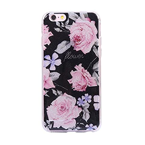 iPhone 6 / 6S Case, Chreey Glitter Phone Case Cute Fashion Sweet Temperament Pattern Soft TPU Silicone Case Ultra Thin Anti-scratch Protective Cover [Pink Roses]