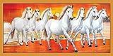 VASTU POSTER HIGH QUALITY WHITE 7 HORSES STICKER POSTER