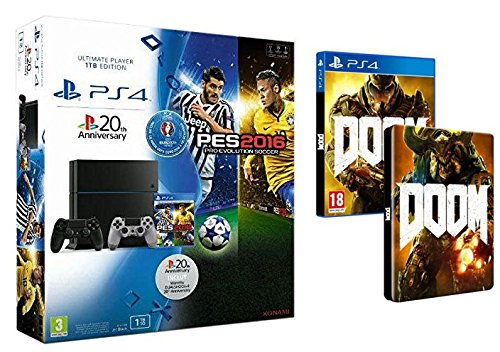 Pack PS4 1To + PES Euro 2016 + 2ème manette - 20eme anniversaire + Doom + Steelbook Doom