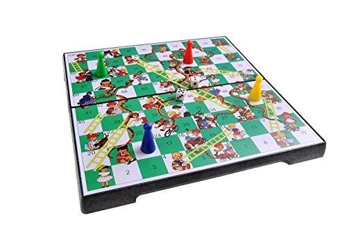 Magnetisches Brettspiel (Reise-Größe): Leiterspiel / Schlangen und Leitern / Snakes and Ladders - magnetische Spielsteine, Spielbrett zusammenklappbar, 20cm x 20cm x 2cm, Mod. SC2430 (DE) - Snakes Ladders
