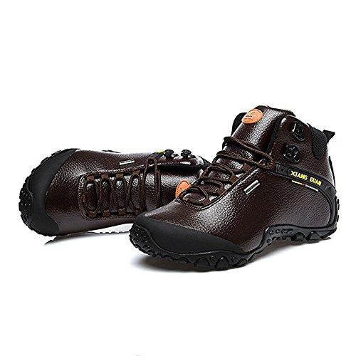 Xiang Guan Femme High-top Cuir Imperméable Outdoor Footwear Chaussures de Camping Randonnée Trail Trekking Bottes Café