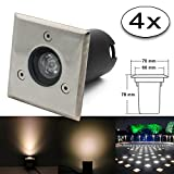 4x 1W Led Bodeneinbaustrahler Ecking Einbaustrahler Warmweiß 230V AC IP67 Wasserdicht 90LM Gartenbeleuchtung Lamp Für Aussen