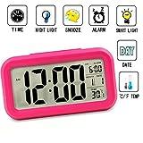 Reloj despertador inteligente Luz velada, para niños, adolescentes, jóvenes LED de datos digital con luz retroalimentada, sensor de temperatura, hora y aplazamiento tecla Snooze Rosa