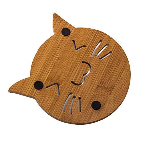 BESTONZON Hohl Verdickt Cartoon Holz Untersetzer Tasse Matten Hitzebeständig für Kaffee Tee Schüssel Pad (Katze) - Gute Katze Katze Schüssel