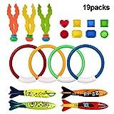 Baiwka 19 STÜCKE Spielzeug Für Unterwasserschwimmbecken, 4 Tauchringe, 4 Torpedo-Banditen, 3 Fadenförmige Oktopus, 8 Juwelenschatz-gewichtetes Tauchspielzeug, Geschenkset Für Das Sommerschwimmbecken