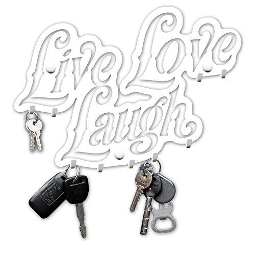 M-KeyCases Live Love Laugh Wand-Organizer Schlüsselbrett (9-Haken) Dekorativer Schlüssel-Board Hakenleiste Schlüsselleiste Vintage Decor Haus-tür Küche Fahrzeug-schlüssel Aufhänger Weiss -