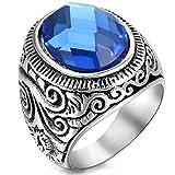 Flongo Anillo Mujer/Hombre acero inoxidable, 'Estrella del mar' Piedra azul cristal, estilo retro grande