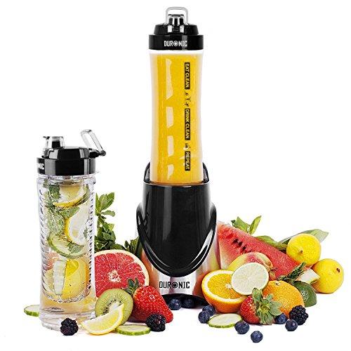 Duronic BL3 /SS Mini Batidora de Vaso Individual para Smoothies / Batidos / Zumos – Libre de BPA – 600 ml – Batidora Portátil / Pica Hielo / Frutas y Verduras / Incluye 2 botellas - Color Inox