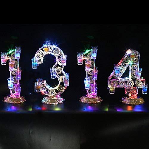 Beleuchtete Theken (HhGold Weinregal Cocktailglas-Regal Getränkehalter Glowing LED beleuchtet Weinglashalter (Farbe: Iron Heart Style (mit Tasse)) (Farbe : 1314 Models, Größe : -))