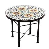 albena Marokko Galerie 15-181 Grisu Marokkanischer Mosaiktisch Couchtisch 60cm (Grisu weiss/grün/bunt)