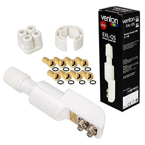 HB-DIGITAL QUAD LNB WEISS WHITE NUR 0,1 dB TESTSIEGER UNIVERSAL ! SEHR RAUSCHARM + 8 vergoldete F-Stecker GRATIS DAZU