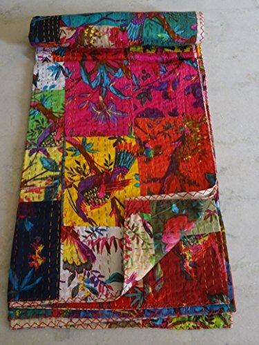 Tribal Asian Textiles Twin Size Handmade Ajarak Cotton Block Indigo Print Kantha Quilt Reversible Throw Sari by Tribal Asian Textiles Reversible Block