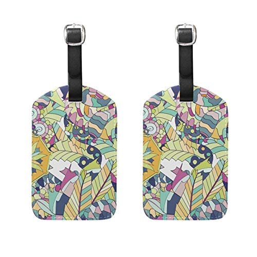 Colorful Doodle Texture Luggage Tags 2 Pieces Set Travel ID Bag Tag for Suitcase