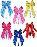 alles-meine.de GmbH 3-D Schleife -  pink / rosa  - 17 cm breit u. 31 cm lang - Geschenkschleife / Geschenkband für Geschenke und Schultüten - Geschenkeschleife / Dekoschleife