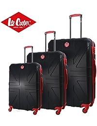 Lee Cooper Set de 3 maletas rígida ABS 4 ruedas 49 – 59 – 69 cm Flag negro