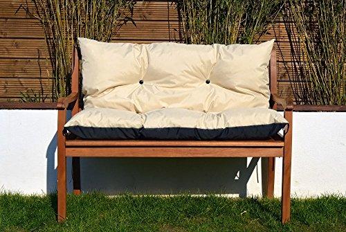 Cristal Gartenbankauflage Bankauflage Sitzpolster Bankkissen Sitzkissen und Rückenkissen Polsterauflage leicht zu reinigen (120 cm, Beige)