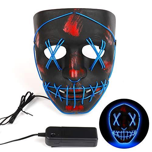 GARDOM Halloween Maske, Festival Party LED Masken mit 3 Blitzmodi für Halloween Fashing Karneval Party Kostüm Cosplay Erwachsene Masken Batterie Angetrieben(Nicht Enthalten)