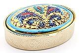 Art Escudellers PORTAPILLOLE Multicolore in Ceramica Dipinto a Mano con Oro 24K, Decorato in Stile BIZZANTINO Verde. 6,5cm x 5cm x 2,5cm