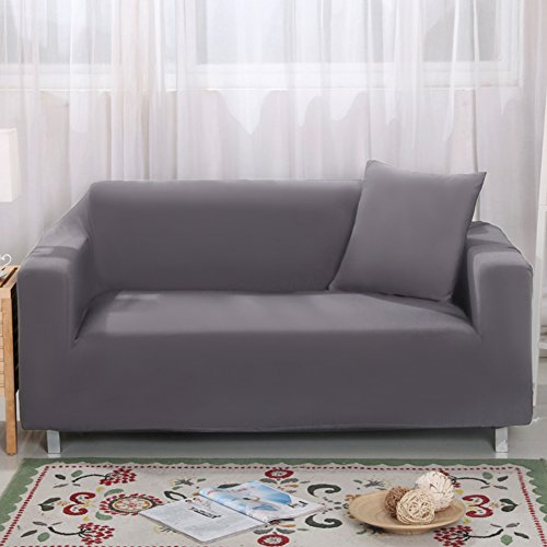 Bezug für 2-Sitzer-Sofa 7Farben erhältlich, vollständig aus Stretch, Schonbezug, Elastisch, aus weichem Stoff, für Couch, Sofa grau