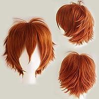Perruque Cheveux Courts Homme Femme Cosplay Déguisement Costume - Orange foncé