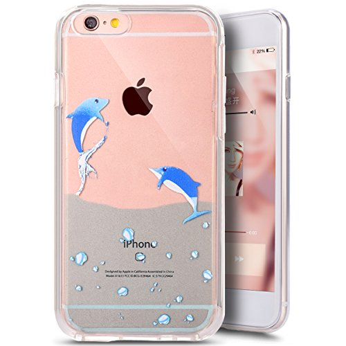 Coque Housse pour iPhone 6 Plus/6S Plus, iPhone 6S Plus Coque Silicone Ultra Mince Etui Combo Housse, iPhone 6 Plus TPU Coque Soft Etui en Silicone,iPhone 6 Plus/6S Plus Silicone Transparent Case TPU  Les dauphins nager