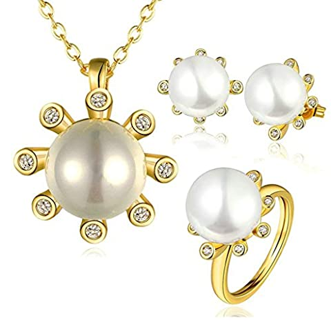 Gnzoe Jewelry, Gold Plated Women Ring Size 8 Necklace White Crystal Inlaid CZ Jewelry Set