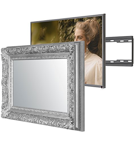 Handmade Framed Mirror TV with Sony KD55XD7005BU to Blend this Hidden Mirrored Television into Your Home or Business Decor (55 Inch, Barbican Silver)