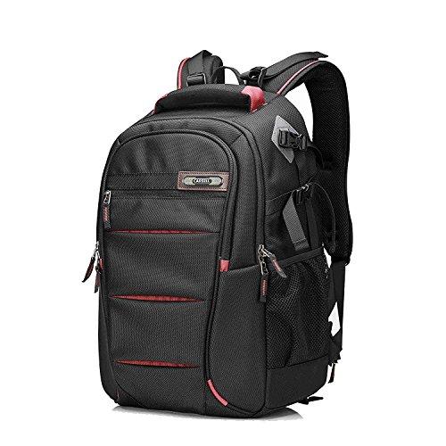 Multifunktions-DSLR-SLR-Kameratasche Reise-Outdoor-Tablet-Laptop-Tasche Wasserdichter, langlebiger Kamera-Rucksack für Sony Canon Nikon Olympus SLR / DSLR Kameras, Objektiv und Zubehör (Red-L) (Kamera Wasserdichte Tasche Sony)