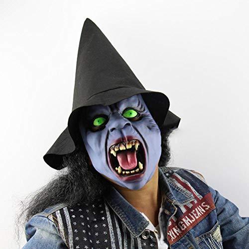 QJKai Halloween Hexe Headgear Aprilscherz Scheune Wow Dress Up Artikel Room Escapes Horror Ghost Mask - Scheune Latex