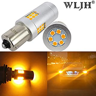 WLJH 2pcs BA15S 1156 LED Bulb Super Bright Anber 3030 30SMD 21W 7506 P21W Canbus Error Free Car Exterior Turn Signal Tail Back Up Reverse Light,Non Polarity