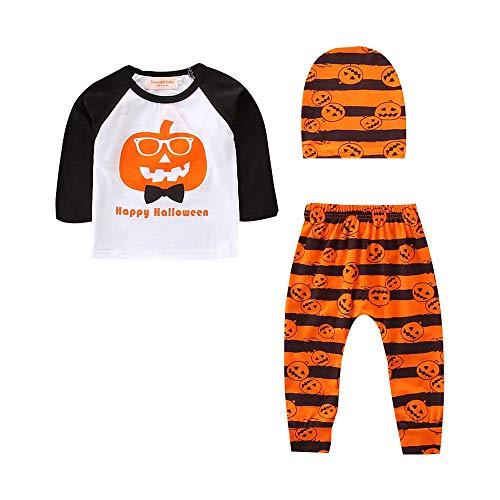 (Babykleidung Satz, LANSKIRT Halloween Kleinkind Baby Jungen Pumpkin Tops + Gestreifte Hose Outfits 3er Set Kleidung 0-24 Monate)