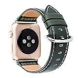 Amoyl für Apple Armbanduhr Lederband2 Hermes,  42mm/38mm Lederband für iWatch Zubehör Band (braun/schwarz/grün/khaki/blau), armee-grün, 38 mm