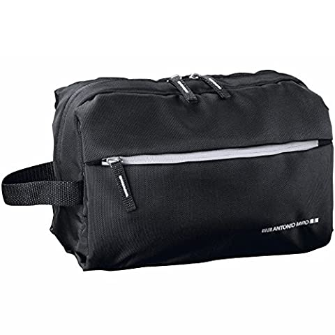 ANTONIO MIRO Vanity Case Waterproof Black Nylon Wash Bag - Lots of Space with Exterior and Interior Pockets - Embroidered Logo - Perfect for Travel
