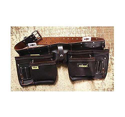 Rolson Tools 68889 Ceinture double outil en cuir haute qualité tanné à l'huile