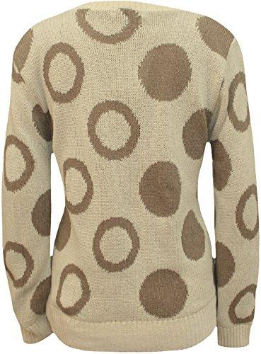 WearAll - Damen Kreis Punkt-Muster-Langarmshirt Damen Strickpullover Top - 5 Farben - Größen 36-42 Stein