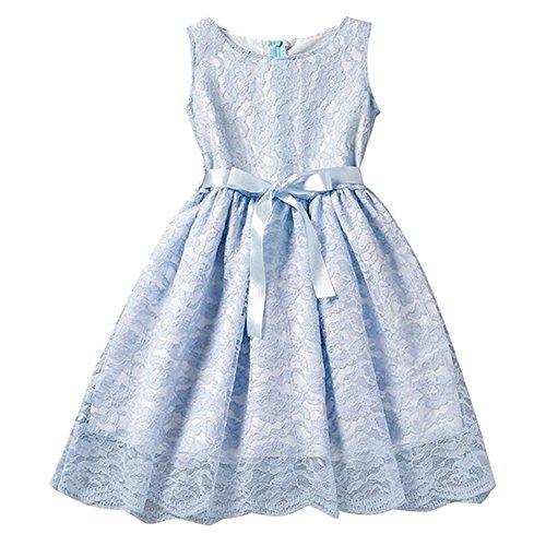 Mädchen Fest-kleid für Kinder Geburtstags Kleid Blumenmädchen Party Spitzenkleid Hellblau/110