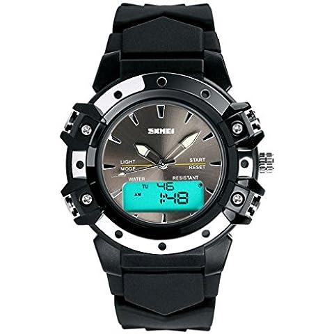 pkaty analogico da uomo multifunzione cinturino in gomma luce posteriore a LED sveglia digitale polso Watch-Black