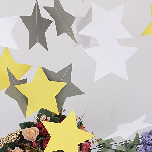 Merssavo Papier Stern Hängende Ornamente Baby Zimmer Hochzeit Party Dekoration (Gelb + Grau + Weiß) (Grau Und Gelb-party Dekorationen)