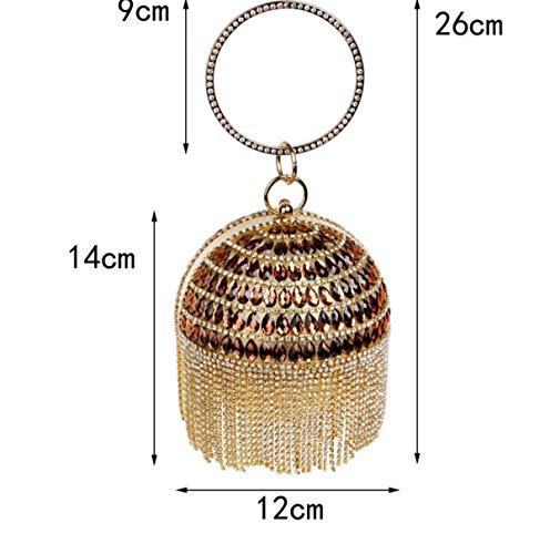 Strawberryer L'Europe Et Les États-Unis Mode Sacs à Main En Dames Sphérique Tassel Sac De Soirée Diamond KTV Mobile Phone Wallet Clutch gold