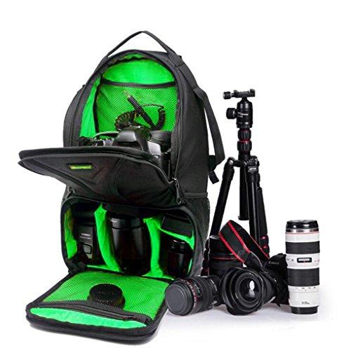 QHGstore Caso Laptop Bag zaino impermeabile DSLR per Canon EOS Nikon nero + verde
