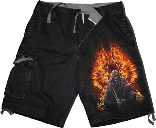 Spiral-Pantaloni Flaming Death-Vintage Cargo pantaloncini nero Black S