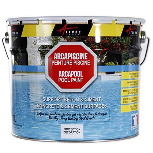 Arcapiscine- Vernice piscina protezione e decorazione supporto cemento e messa in posa cemento facile, blu, bianco o grigio