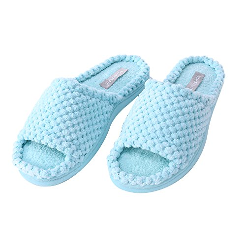 Reticolo Blu Slipper Toe Bowknot Memory Modello Foam Open Kate Carino Donna amp; William See2 Ananas wFHOzz