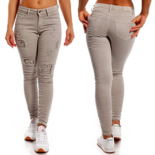Damen Skinny Strass Jeans Slim-Fit Regular Waist Destroyed Grau