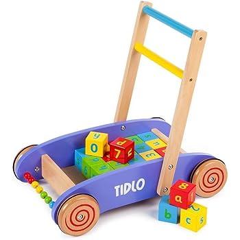 Tidlo Wooden Babywalker with ABC Blocks & Sliding Beads